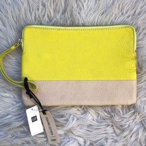 NWT Gap Color-block Zipper Leather Pouch Wristlet